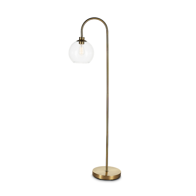 A R Allen Roth Mid Century Floor Lamp 59 5 In Metal Glass Antique Brass Gs F00834 Rona