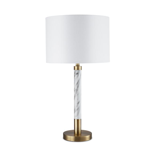 Lampe de table allen + roth, 25 po, métal/tissu, laiton antique/blanc cassé