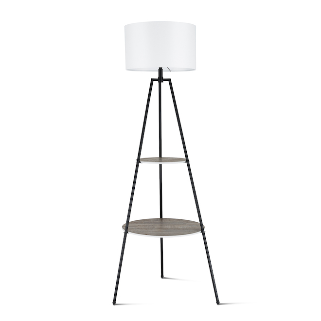 Allen + Roth Tripod Floor Lamp with Shelves - 62-in - Metal - Black/White