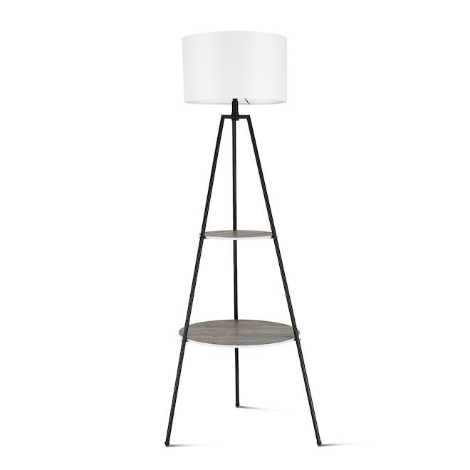 Lampe sur trépied allen + roth avec tablettes, 62 po, métal, noir/blanc