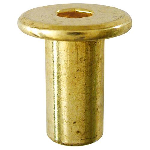 """Écrou connecteur en acier, 1/4"""", 17 mm, laiton, boîte de 25"""