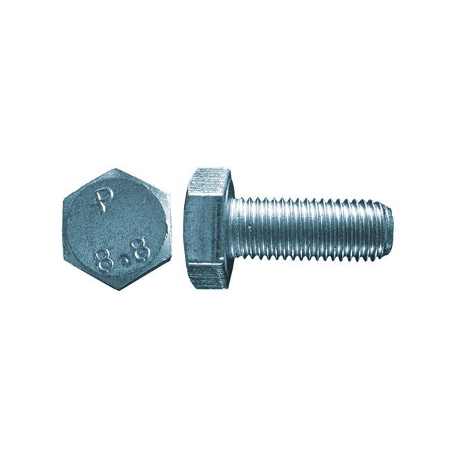 Boulon métrique, filet fin, M10 x 25 mm, 3/bte, zinc
