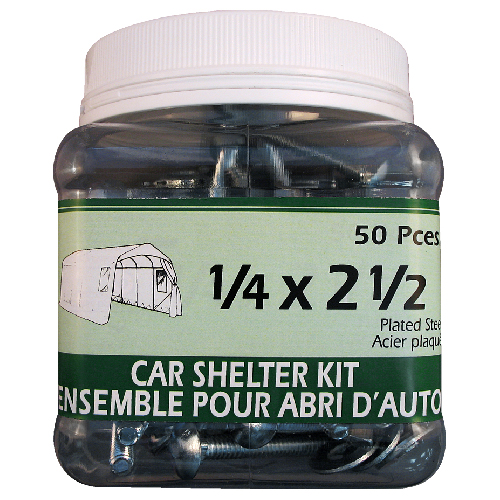 Precision Car Shelter Kit - Tent Accessories - 50 Pieces - Steel Plated Bolts