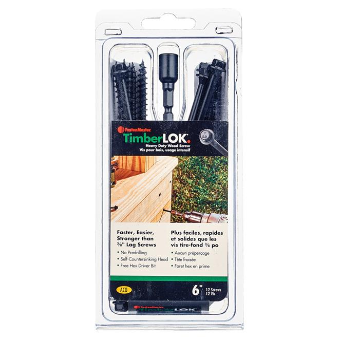 """Vis à bois structurelles TimberLOK, hexagonale, 6"""", 12/boîte"""