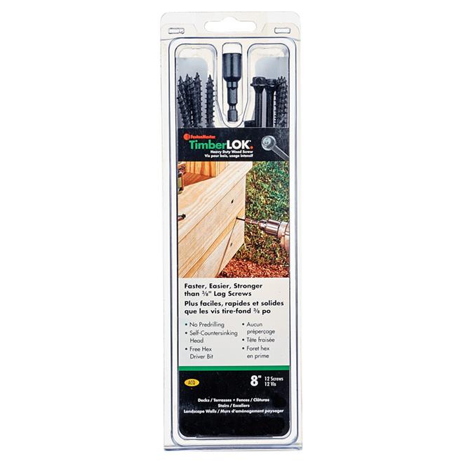 """Vis à bois structurelles TimberLOK, hexagonale, 8"""", 12/boîte"""
