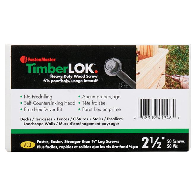 "Vis à bois structurelles TimberLOK, hexagonale, 2 1/2"", 50/b"