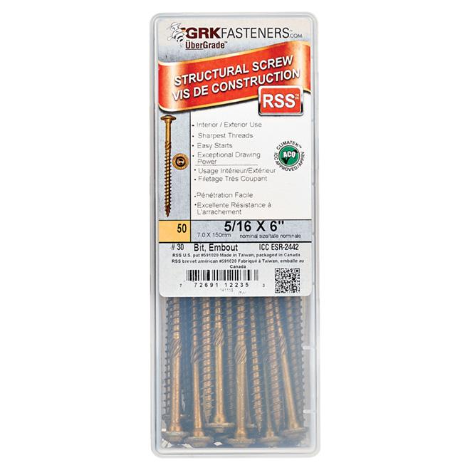 "RSS Climatek-Coated Structural Screws - 5/16"" x 6"" - 50/Box"