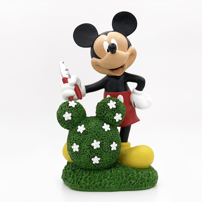 Mickey Mouse Statue with Floral Topiary - Resin - 14-in