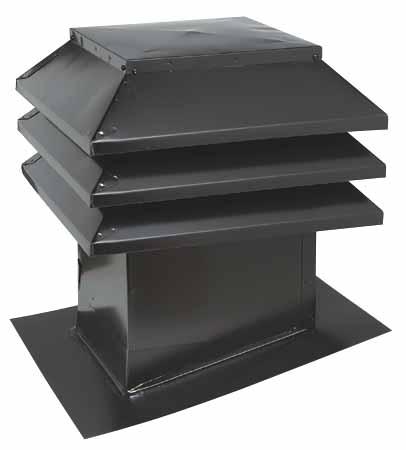 Évent de toit pour toit incliné 12 po x 12 po, noir