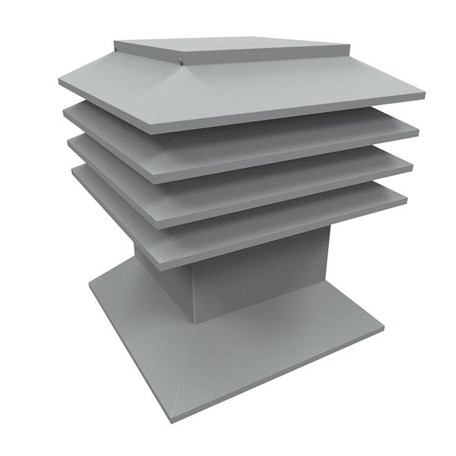 Ventilateur pour toit plat en acier, 12'' x 12'', gris