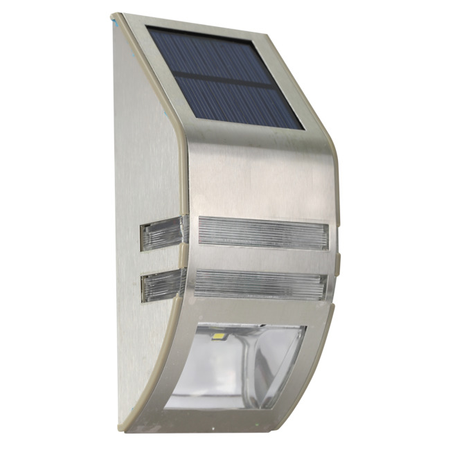 Luxworx Solar Wall Lights - 6.7-in x 3.1-in - Stainless Steel - Set of 2