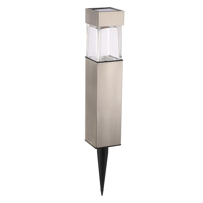 Luxworx LED Solar Bollard Square Light - Plastic Silver