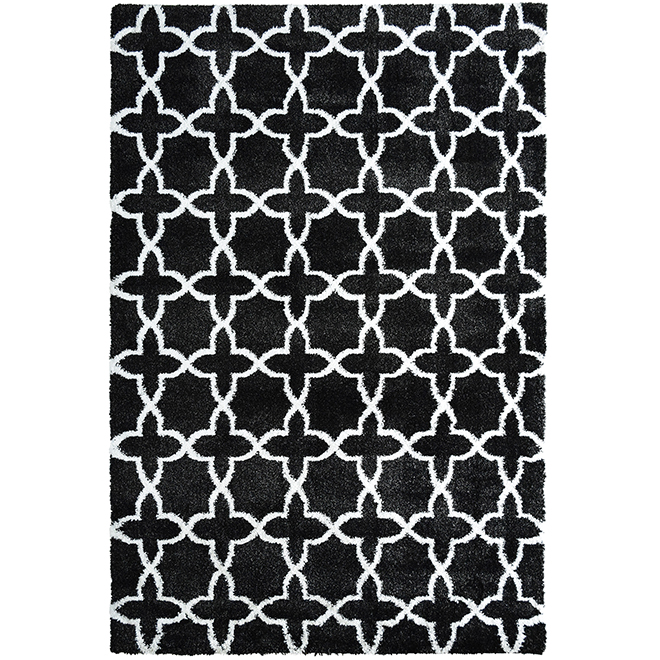 Tapis intérieur décoratif « mosaïque », 8' x 10', noir/blanc