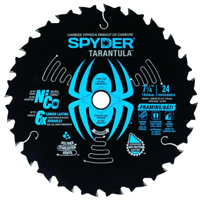 Spyder Construction Circular Saw Blade - Carbide - 7 1/4-in Dia - 24 Tooth