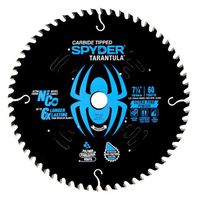 Lame de scie circulaire au carbure de tungstène Tarantula de Spyder, 7,25 po 60 dents