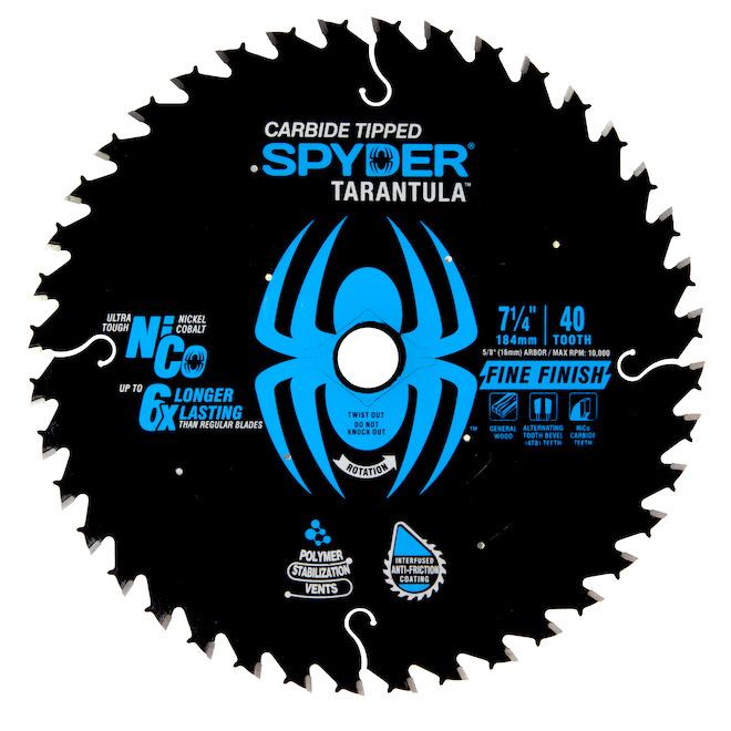 Lame de finition pour scie circulaire Spyder en carbure de tungstène, 7,25 po 40 dents