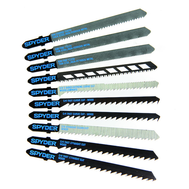 Ensemble de lames pour scie sauteuse en acier rapide Spyder, 10 pièces