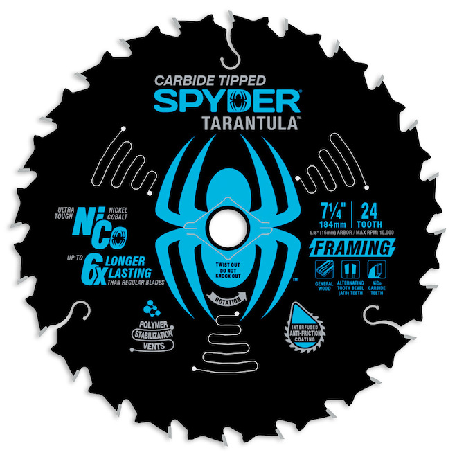 Spyder Tarantula Framing 7.25-in 24-Tooth Tungsten Carbide Steel Circular Saw Blade 2-Pack