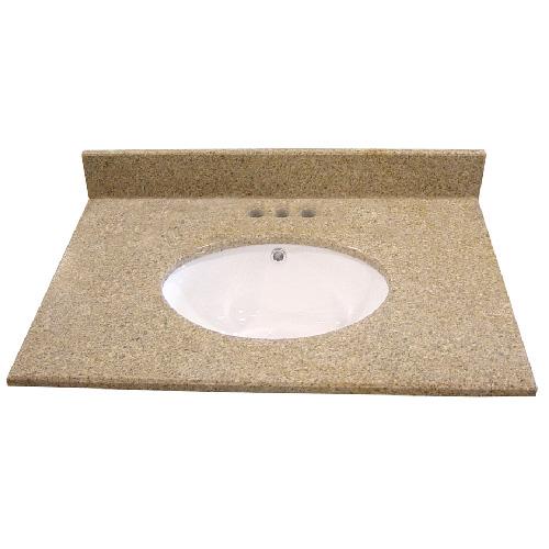 Luxo Marbre Brown Granite Vanity Countertop - 4-in Centreset Configuration - Undermount Porcelain Sink