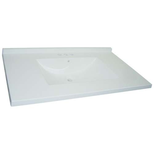Luxo Marbre Vanity Countertop with Integrated Synthetic Marble Sink - White - 37-in W x 22-in D - Backsplash Included