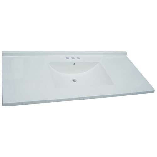 Luxo Marbre Synthetic Marble Countertop and Matching Sink - 49-in W x 22-in D - 2-3/4-in Thick - 4-in Centreset Faucet