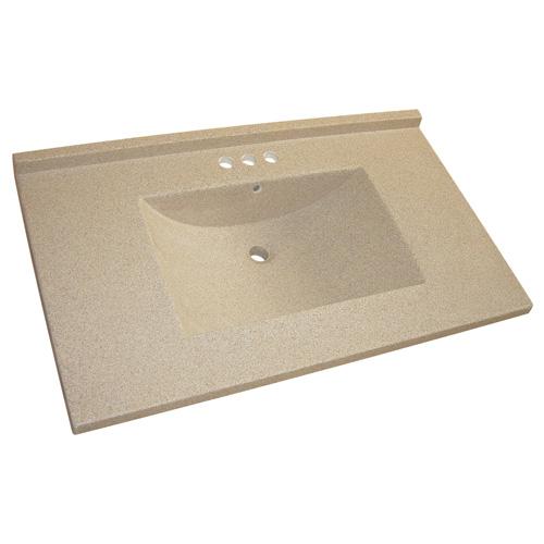 Luxo Marbre Bathroom Kitchen Countertop Vanity - 37-in W x 22-in D - Brown Granite - 4-in Centreset