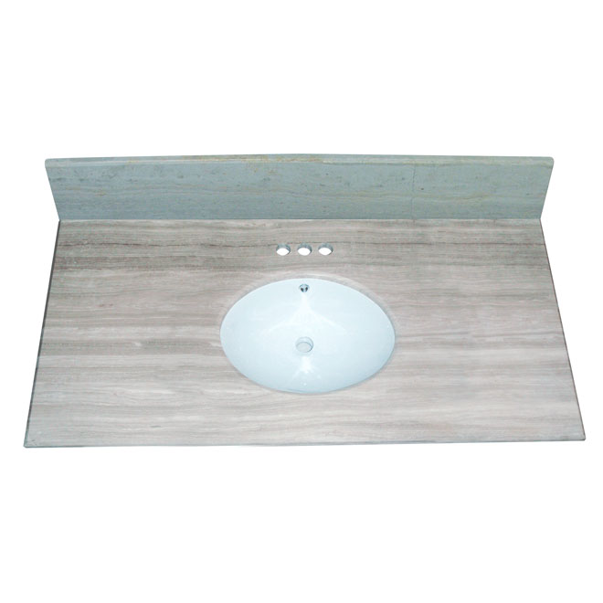"Vanity Countertop - 49"" x 22"", White/Grey"