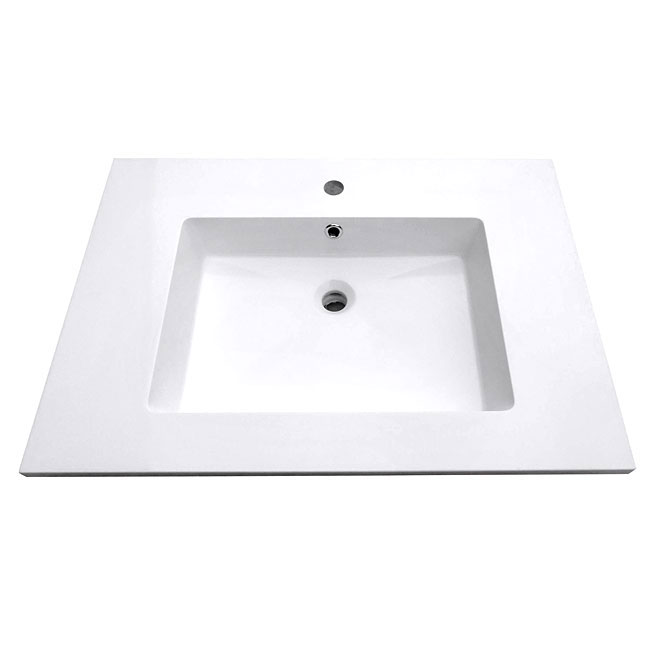 Luxo Marbre Vanity Top with Sink - White Synthetic Marble - Single-Mount Faucet - Overflow Drain