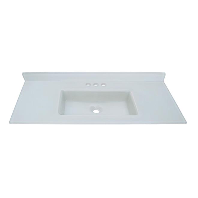 Luxo Marbre Vanity Countertop Integral Sink - White Tempered Glass - Backsplash Included - 37-in W x 22-in D