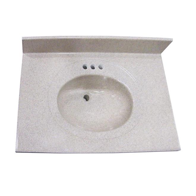 Luxo Marble Vanity Countertop and Sink - 37-in W x 22-in D - Brown Granite Look - Synthetic Marble Sink - Oval Basin