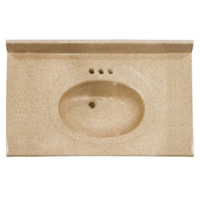Luxo Marbre Vanity Countertop and Integral Oval Sink - 49-in W X 22-in D - Synthetic Marble - Overflow Drain Included