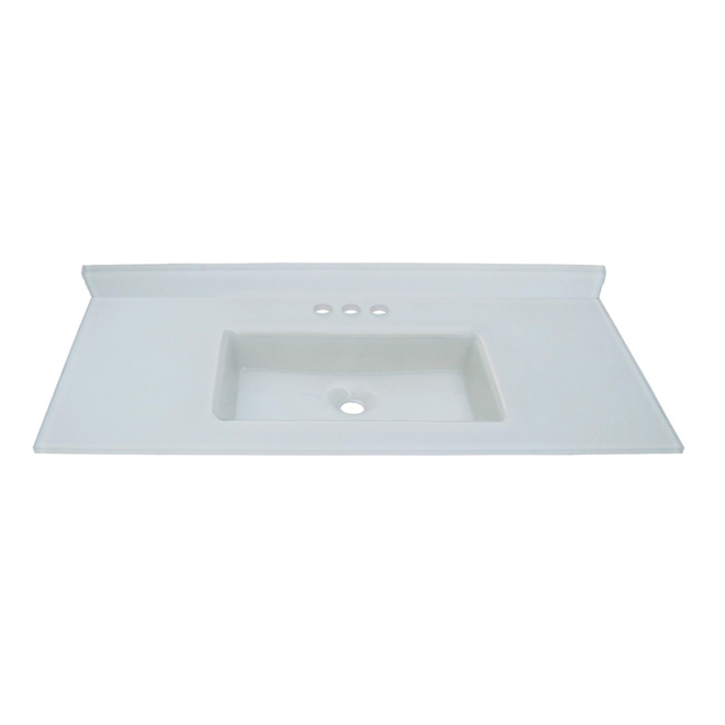 Luxo Marbre Tempered Glass Vanity Countertop and Integral Sink - 49-in W x 22-in D - White - Rectangular Basin