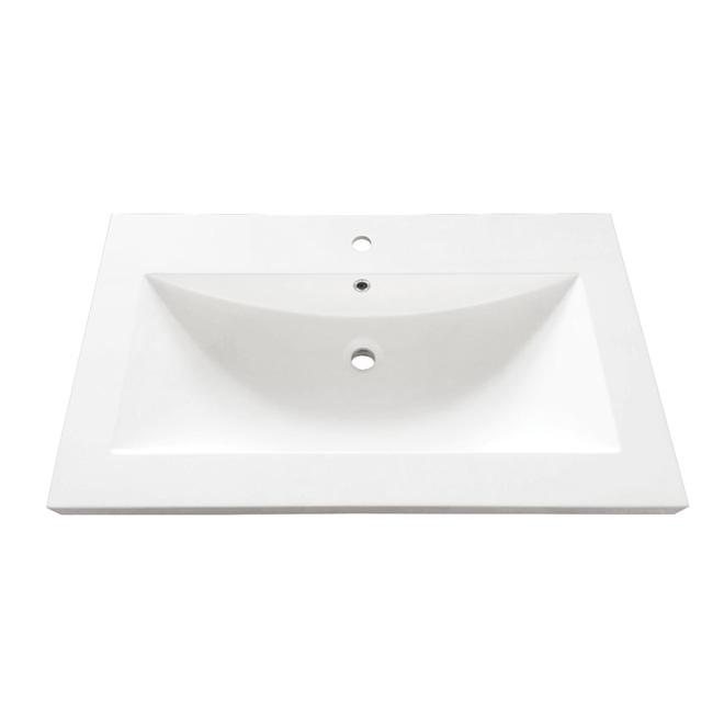 """Dessus de meuble-lavabo, 37"""" x 22"""", blanc veiné noir"""