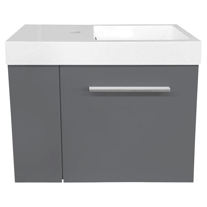 """Meuble-lavabo Mini, 1 porte, 24 x 10 x 21"""", gris pâle"""