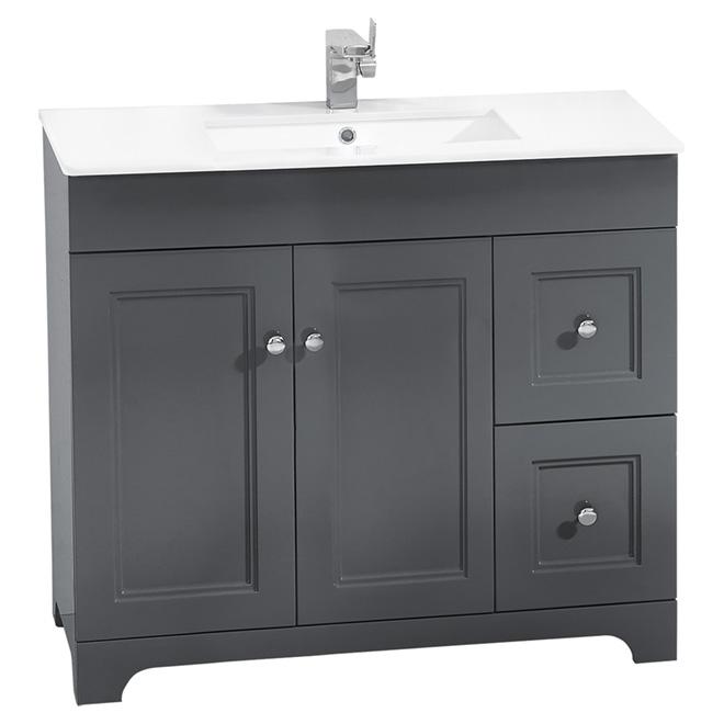 "Meuble-lavabo, 2 portes/2 tiroirs,  34 1/4"", gris"