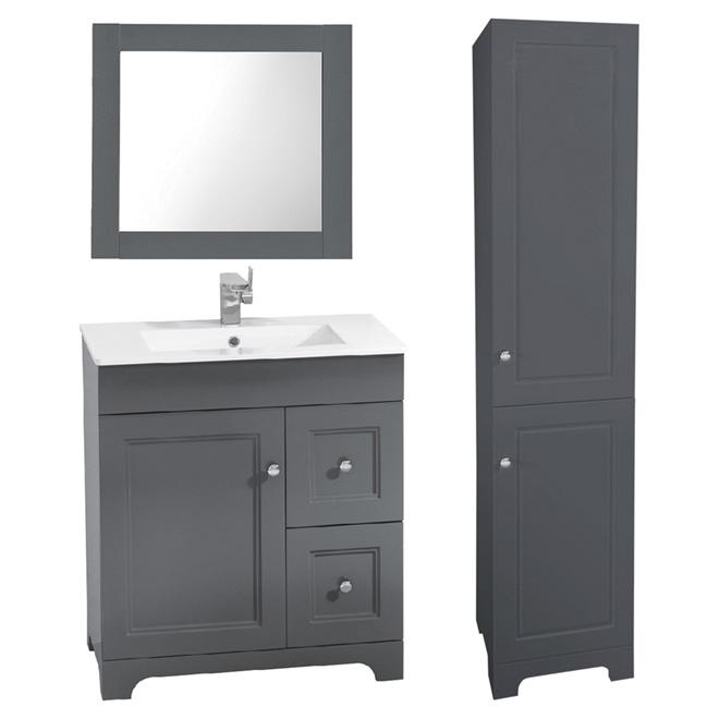 Meuble-lavabo avec miroir et lingerie, 3 pièces
