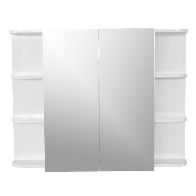 Pharmacie avec miroir, 2 portes, 6 tablettes, blanc