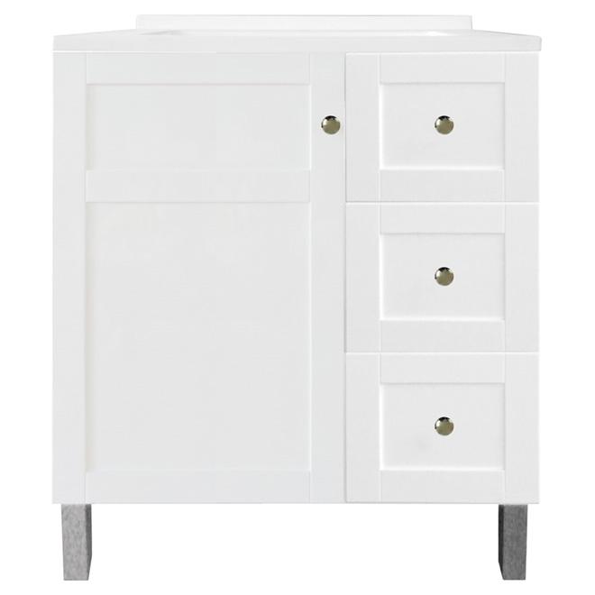 Luxo Marbre Tender Vanity Sink 1 Door 3 Drawers 31 White Tender3119skwt Rona