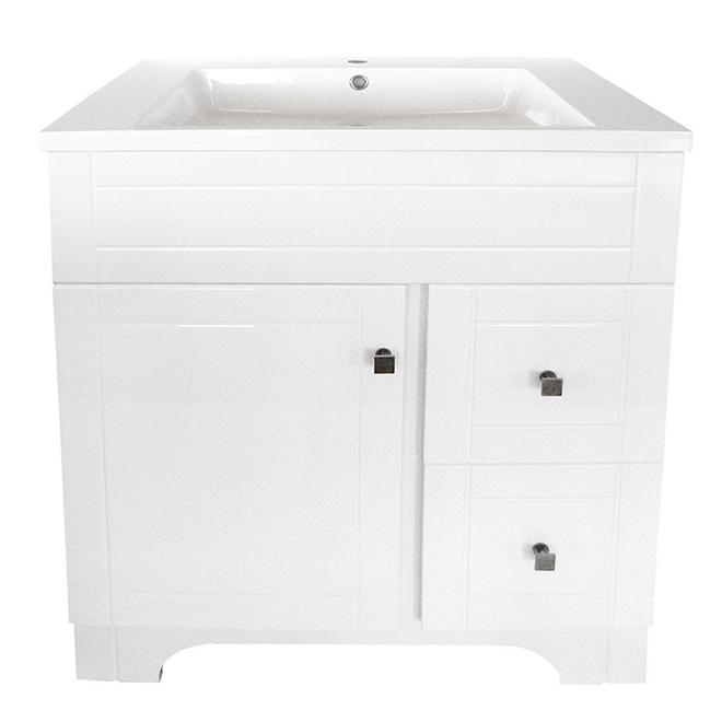 """Meuble-lavabo «Mirano», 1porte et 2tiroirs, 31"""", blanc"""