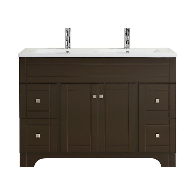 """Meuble à double lavabo, 2 portes, 4 tiroirs, 49"""", brun"""