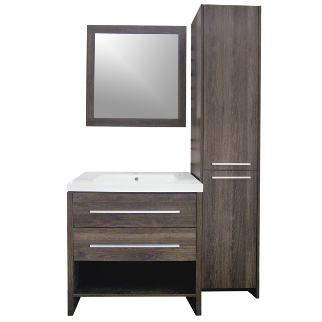 luxo marbre meuble lavabo avec lingerie et miroir m lamine ch ne alamo relax3122magml rona. Black Bedroom Furniture Sets. Home Design Ideas
