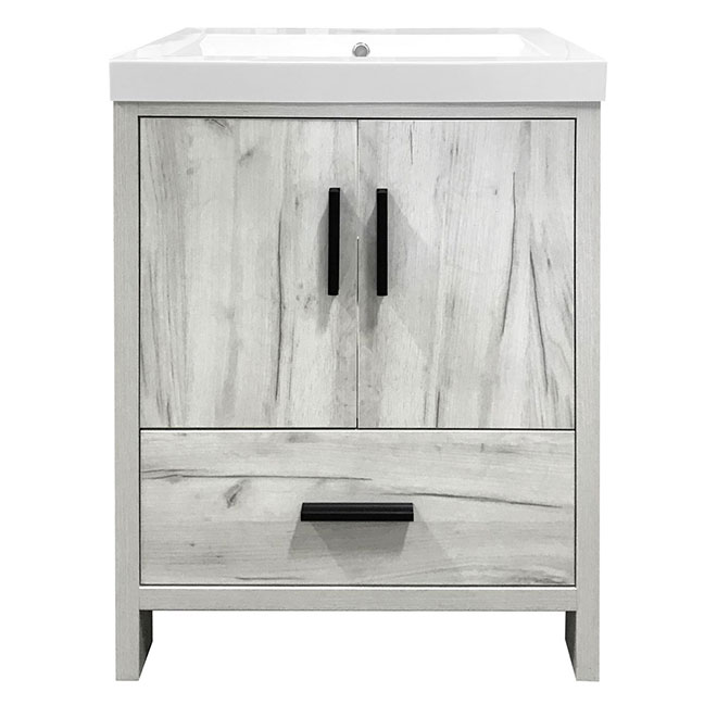 Meuble-lavabo Smally, 24,5'', blanc et gris