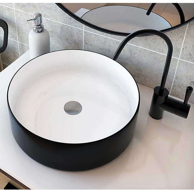 Lavabo vasque, A&E Bath Nilene avec drain escamotable, céramique 18 po x 5 po x 18 po noir mat