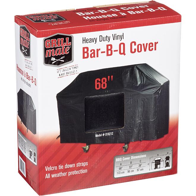 """BBQ Cover - PVC - 68"""" x 22"""" x 38"""" - Black"""