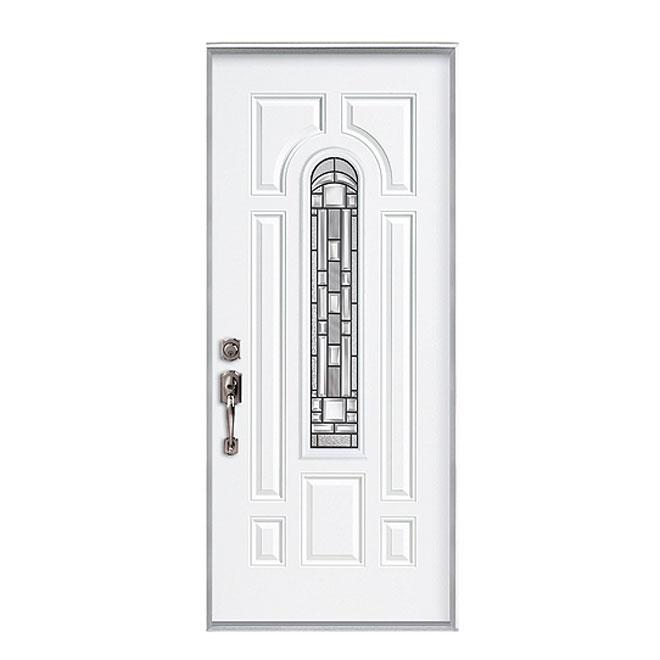"""Porte d'entrée en acier Naples, gauche, 34""""x 80"""", apprêt"""