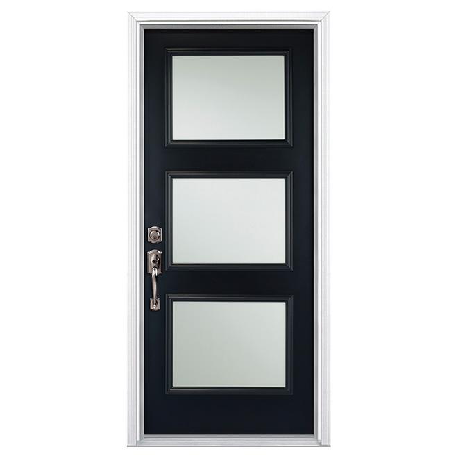 """Porte en acier à 3 panneaux, 32"""", noir, ouverture à gauche"""