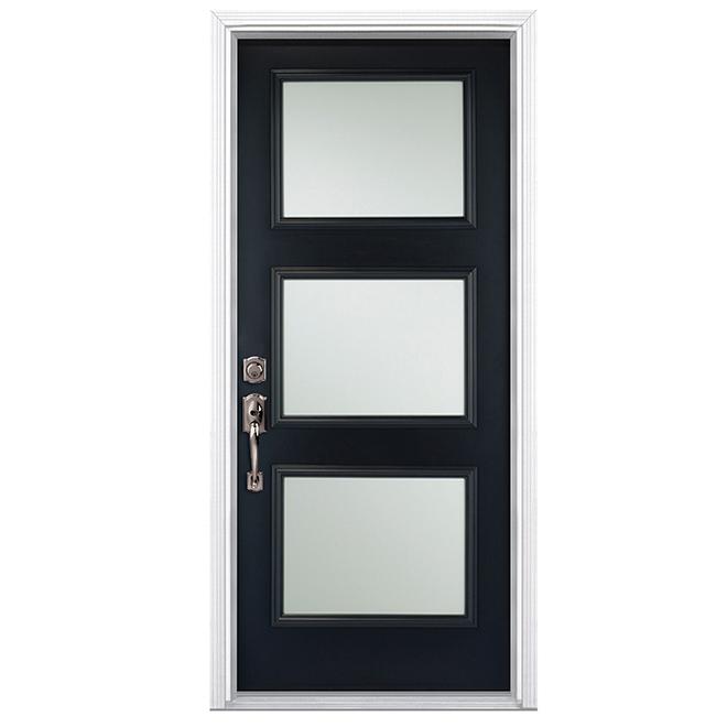 """Porte en acier à 3 panneaux, 32"""", noir, ouverture à droite"""
