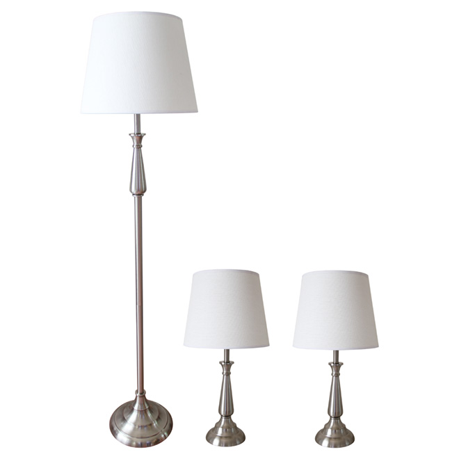 LUX 3-Lamp Set - Satin Nickel Finish