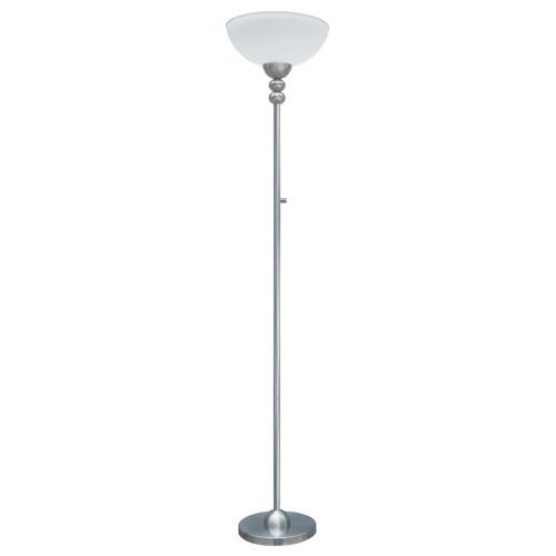 "Lampe torchère 72,8"", nickel satiné"