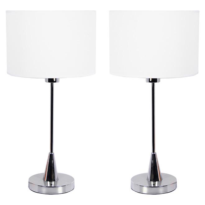 Ensemble de lampes de table, 60 W, chrome, 2 pièces